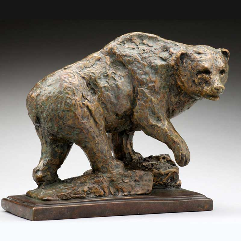 Rustic Bronze Bear Sculpture, Standing His Ground