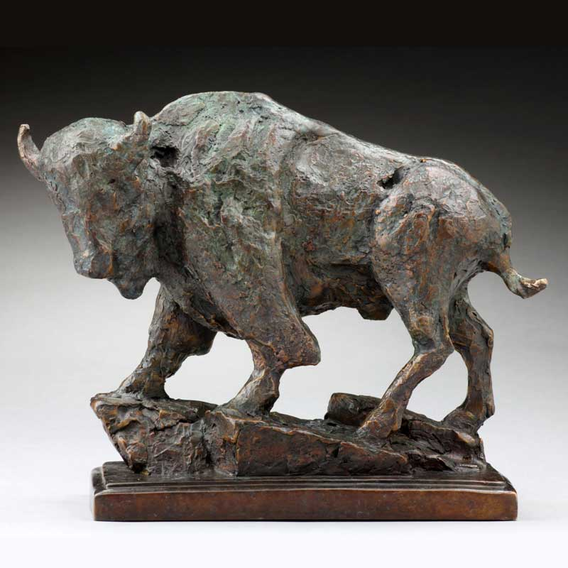 Rustic Bronze Bison Sculpture, The Veteran