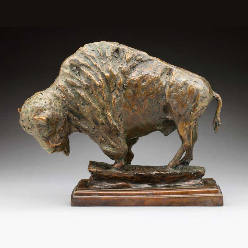 Rustic Bronze Buffalo Sculpture, Once There Were Many