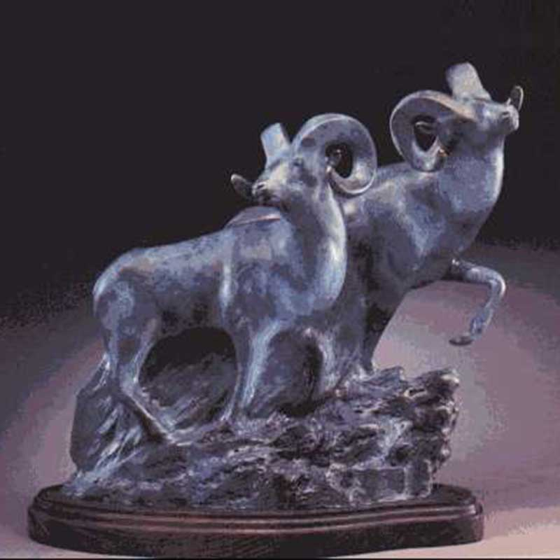 Bronze Ram Sculpture, The Buddies