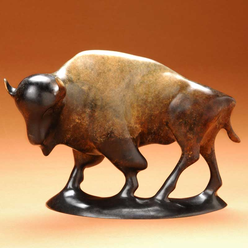 Buffalo Bronze Sculpture, King Thunder