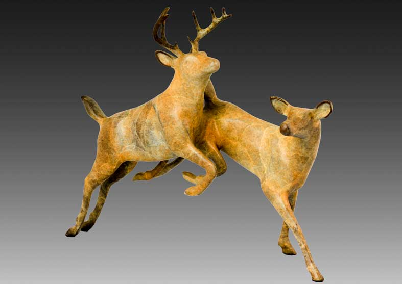 Deer Bronze Sculpture | Forest Ballet