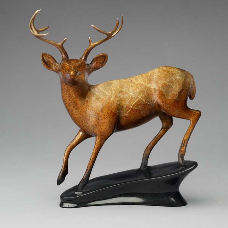 Mule Deer Bronze Sculpture, In His Prime
