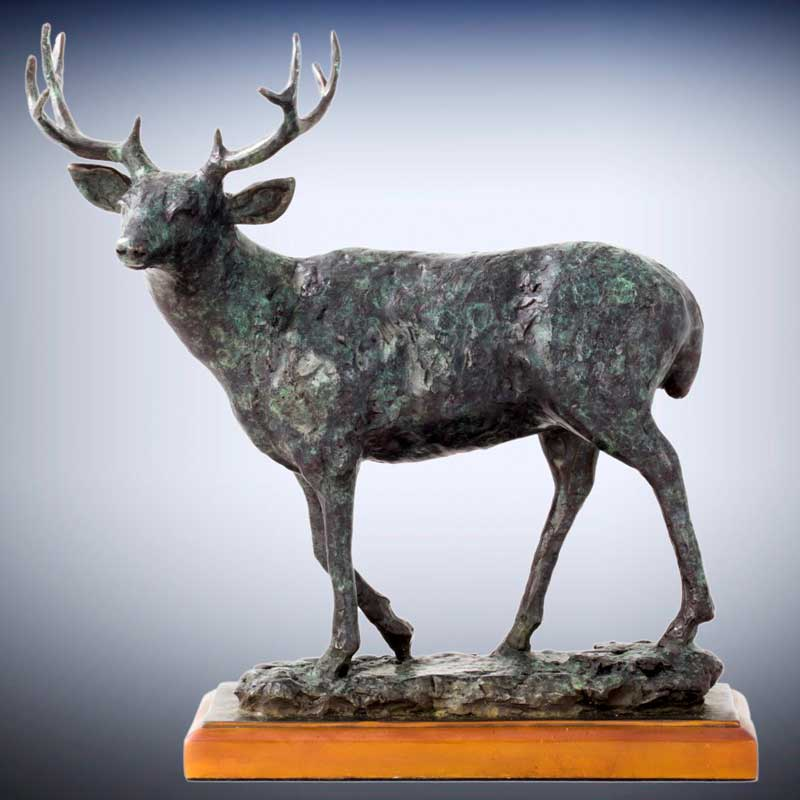 Rustic Bronze Mule Deer Sculpture, Mountain Muley