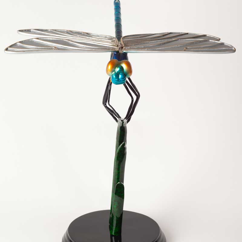 Blue Dragonfly Bronze Sculpture Front