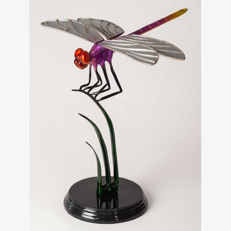 Purple Dragonfly Bronze Sculpture