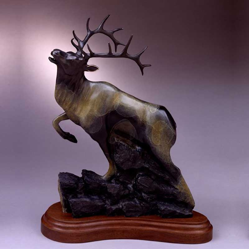 Bronze Elk Sculpture, September's Song