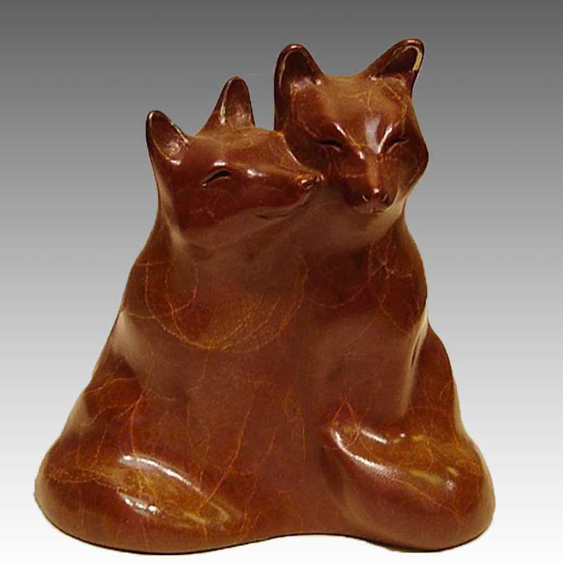 Fox Bronze Sculpture, Little Lovers