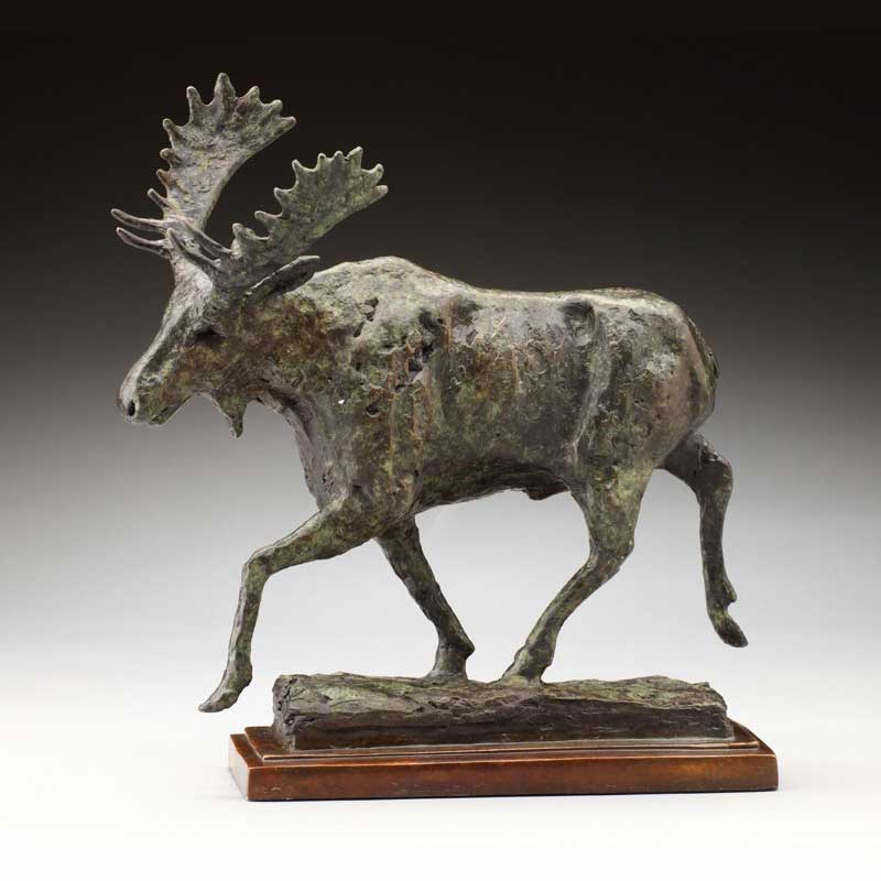 Rustic Bronze Moose Sculpture, Moovin Out