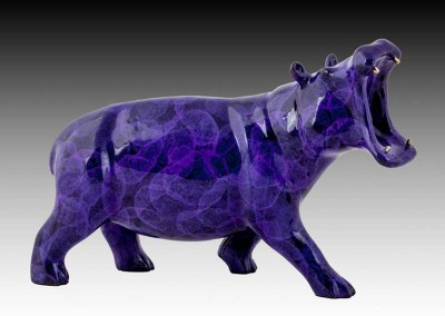 Hippo Purple Bronze Sculpture | Say Ahh