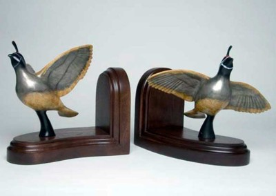 Quail Bronze Sculpture Book Ends | Bookin