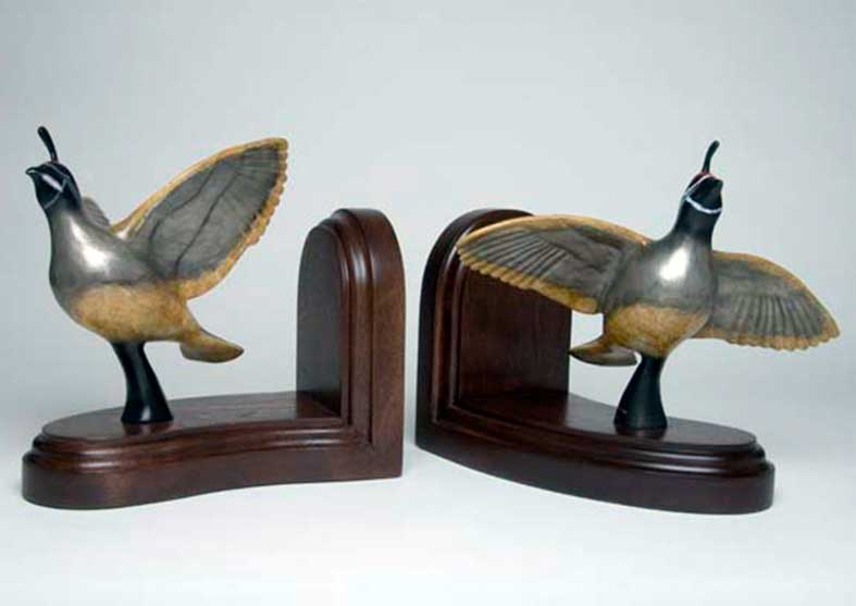 Quail Bronze Sculpture Book Ends | Bookin'