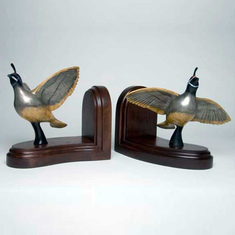 Quail Bronze Sculpture, Bookends, Bookin