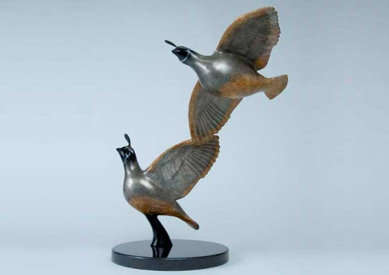 Quail Bronze Sculpture | Wingbeat