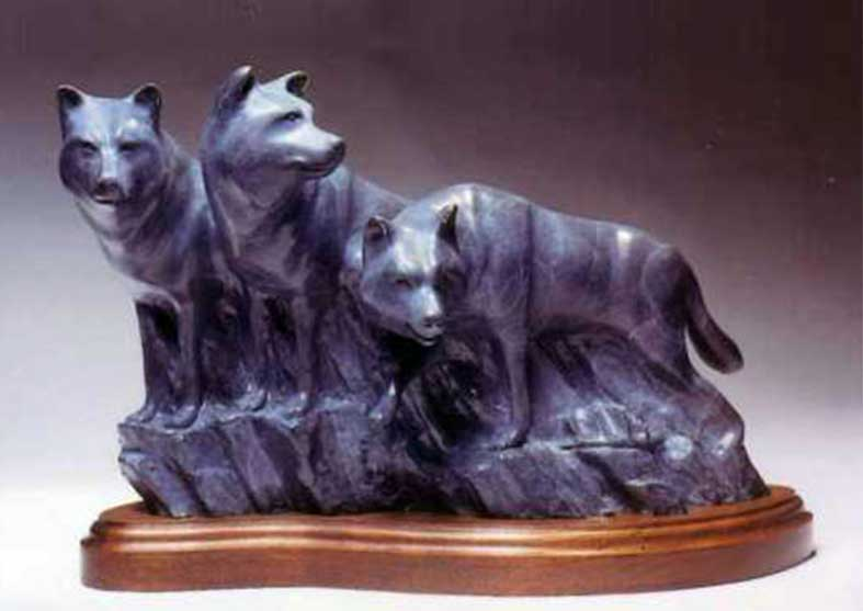 Wolf Bronze Sculpture | Sawtooth Sentinels